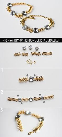 DIY Fishbone Crystal Bracelet