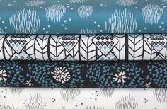 100% Baumwolle, Stoff von Staghorn Design, blau, türkis, weiß, petrol // 100% cotton fabric, teal, white, tuquoise via DaWanda.com