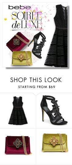 """""""Soirée de Luxe with bebe Holiday: Contest Entry"""" by jesslea85 ❤ liked on Polyvore featuring moda e Bebe"""
