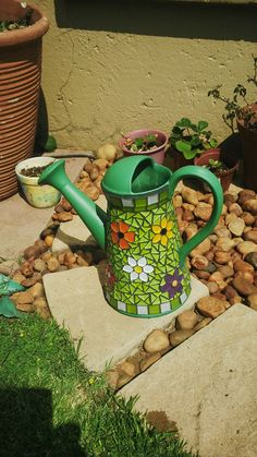 Watering can #mosaic #garden                                                                                                                                                                                 More