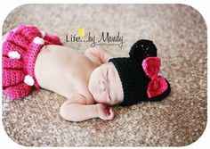 Newborn Macy Mouse set crochet pattern by Puppy Love Creations. You can purchase this set to be made in any color at https://www.facebook.com/PuppyLoveCreations