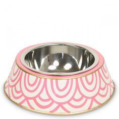 Pink Scales Dog Bowl, furbish, handpainted, chic dog accessories