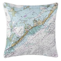 FL: Islamorada, FL (Close Up) Nautical Chart Pillow