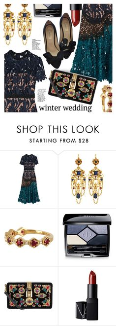 """Winter Wedding"" by stacey-lynne ❤ liked on Polyvore featuring self-portrait, Jose & Maria Barrera, Bony Levy, Christian Dior, Dolce&Gabbana, NARS Cosmetics and Valentino"