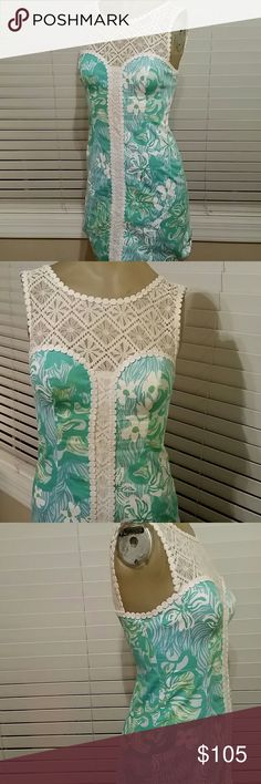 LILLY PULITZER SHIFT DRESS Beautiful and timelessly flattering shift dress with lace at chest, sleeves, and the back. Has a feminine V shaped back.  This dress no accessories required. New condition. No rips, tears, holes, stains. Lilly Pulitzer Dresses Midi
