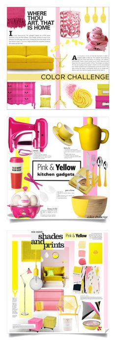 """""""Winners for Color Challenge: Pink and Yellow"""" by polyvore ❤ liked on Polyvore featuring interior, interiors, interior design, home, home decor, interior decorating, Joybird Furniture, Divine Designs, Stray Dog Designs and Surya"""