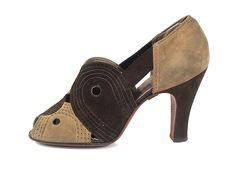 Shoes, Arrow Shoe: 1938, two-toned suede upper, suede-covered Spanish heels, decorated with perforation and stitching. leather soles.
