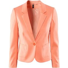 H&M Short jacket (64 BRL) ❤ liked on Polyvore featuring outerwear, jackets, blazers, blazer, h&m, apricot, blazer jacket, short-sleeve jackets, fleece-lined jackets and short blazer jacket