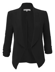 Super cute!! LE3NO Womens Lightweight Ruched 3/4 Sleeve Open Front Blazer Jacket