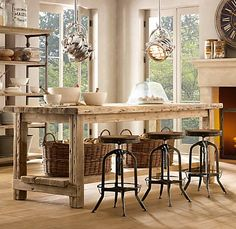 step by step instructions to build your own farmhouse table How about adjusting dimensions and adding casters to make a movable kitchen island/workstation