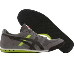 Asics Onitsuka Tiger Ultimate 81 shoes in grey, black, and lime.