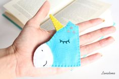 Unicorn felt corner bookmark magic light blue unicorn by Lanatema
