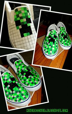 These Minecraft shoes are good for all of the Minecraft geeks. It's a good way to wear shoes in style, and show off your Minecraft love! Minecraft Diy, Minecraft Shoes, Minecraft Bedroom, Minecraft Costumes, Minecraft Furniture, Minecraft Buildings, Minecraft Stuff, Minecraft Halloween Costume, Minecraft Construction