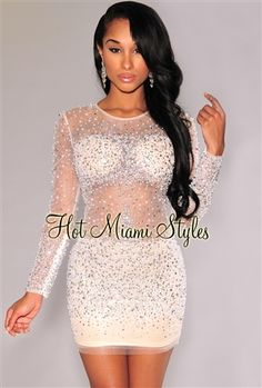 Off-White Beaded Sequined Padded Dress Womens clothing clothes hot miami styles hotmiamistyles hotmiamistyles.com sexy club wear evening  clubwear cocktail party kim kardashian dresses - Inspired by JLO