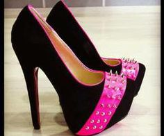 ♥ Pink studded and black heels