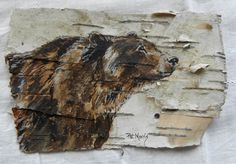 Hand Painted Bear on Birch Bark, Framed. $40.00, via Etsy.