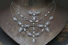 Cathy Waterman Recycled Platinum Rose Petal Necklace Set With Ethically Sourced Diamonds