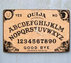 Ouija Board Clock Upcycled Fun Nostalgia OOAK by EcoCycled on Etsy, $50.00