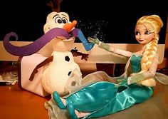 Day 3 Elsa has jokes when it comes to freezing olaf's mustache