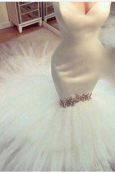 white tulle sequins long mermaid evening dresses, wedding dress
