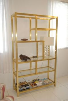 regency large scale 6 shelve gold glass etagere style can be unscrewed for