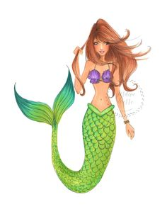 I'd rather be a mermaid illustration print 8x10 by JordanWerre