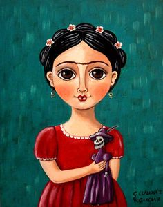 """Mexican Folk #Art. """"FRIDA KAHLO WITH DAY OF THE DEAD DOLL"""". Artist Panel 8"""" x 10""""---- i love her"""