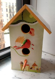 Birdhouse made by Lori Ess featuring Polly Dunbar's fantastic illustrations for Here's a Little Poem: A Very First Book of Poetry edited by Jane Yolen and Andrew Fusek Peters.