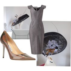 Grey, Silver & Black Derby Outfit with Black Saucer Hat