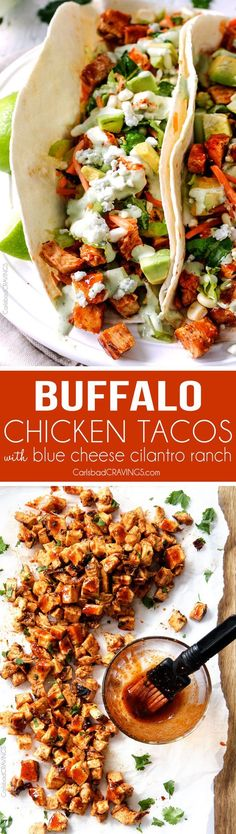 Buffalo Chicken Tacos stuffed with the most incredible marinated Buffalo Chicken and drizzled with to-live-for Blue Cheese Cilantro Ranch are ridiculously delicious! Always a crowd pleaser! (Buffalo Chicken And Rice) Healthy Recipes, Mexican Food Recipes, Dinner Recipes, Cooking Recipes, Taco Ideas For Dinner, Taco Dinner, Cooking Tips, Enchiladas, I Love Food