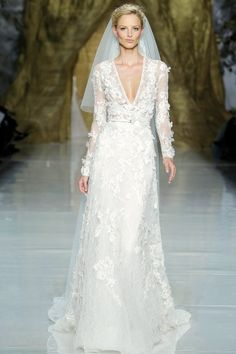 love the delicately-embellished sleeves on this pronovias gown