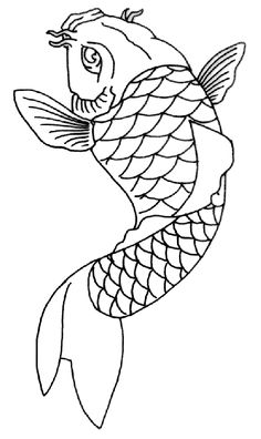 koi-fish-tattoo-outline1-1 from Ballerz Ink Tattoo & Piercing in ...