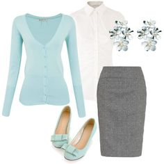 Gray skirt, light colored sweater