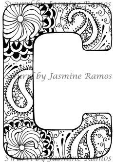 Monogram Letter C Original Giclee Print of Pen and Ink by Swurrl, $12.00