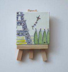 Original painting on a mini canvas $26  https://www.etsy.com/listing/117649583/paris-eiffel-tower-and-a-kite-original