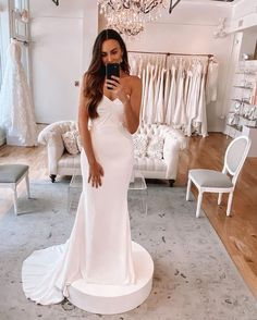 """Kelly Faetanini's Instagram photo: """"Looking stunning in our #kfCypress! ⬅️Swipe through and see what she looks like with our floral bolero! Need more? Check our link in bio…"""" Pretty White Dresses, Looking Stunning, Wedding Dresses, Link, Floral, Check, Instagram, Fashion, Bride Dresses"""