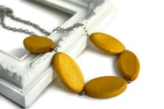 Mustard Yellow Chunky Necklace with Geometric by VeniciaCreations, $25.50