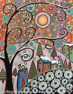 Snow Capped 11x14 Trees Houses ORIGINAL Canvas PAINTING FOLK ART Karla Gerard.