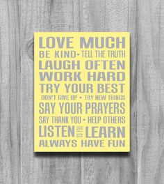 Family Rules Poster Art Quote Inspirational Print Playroom Typography Play Room Art Custom Girls or Boys