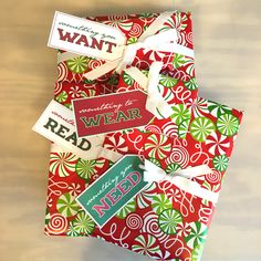 Free printable children's Christmas gift tags for something you want, something you need, something to wear and something to read.