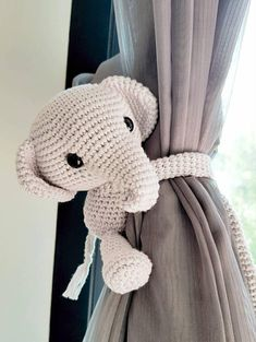 Cotton yarn elephant curtain tie back♥❤ The price 29.50 USD is for one elephant only. **If you prefer 2 or more elephants, please select color and curtains side then add to cart one by one. You also can convo me to make you a custom listing. The light grey elephant in the first photo is