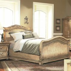 Traditional Formal Antique White King Sleigh Bed Only Bedroom Furniture in Home & Garden, Furniture, Beds & Mattresses Luxury Bedroom Sets, King Bedroom Sets, Luxurious Bedrooms, Master Bedroom, Bedroom Furniture, Home Furniture, Bedroom Decor, Bedroom Ideas, Romance In Bed