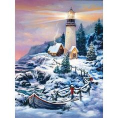 Aitmexcn DIY Diamond Painting Kits Full Drill, Rhinestone Crystal Embroidery Pictures Cross Stitch for Home Wall Decoration Eagle 30 x 40 cm x Christmas Puzzle, Christmas Art, Vintage Christmas, Winter Szenen, Lighthouse Painting, Snow Scenes, 5d Diamond Painting, Christmas Scenes, China Painting
