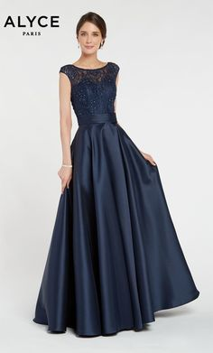 Alyce Paris Style 27243 Long mikado ballgown with a boat neckline, embellished bodice and pockets Mob Dresses, Ball Dresses, Ball Gowns, Fashion Dresses, Formal Dresses, Pink Dresses, Bride Dresses, Wedding Dresses, Mother Of The Bride Gown