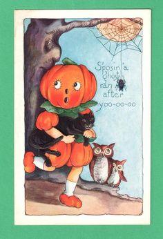 VINTAGE WHITNEY HALLOWEEN POSTCARD PUMPKIN-HEAD GIRL SPIDER BLACK CAT OWLS