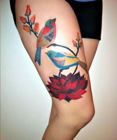 Lovely Thigh Tattoo - for my cardinals idea in memory of my grandparents Milly and Don