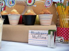 BTS Breakfast Bar Muffin Stand - using paper bag wrapped books