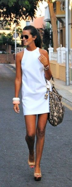 Little white dress. Summer style. Killer legs. Pin It There's so much to say about how fabulous this look is. This dress, found in the Zara summer collection, is an absolute summer wardrobe staple as it's perfect for so many occasions, it looks utterly stunning and it can be teamed with so many accessories and colours to really create something beautiful! Let's start with the dress. A flattering neckline, accentuating your shoulders which, if you're slightly broader, is great, as this will real…