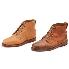 Rancourt x Horween - Russell Boots. A lot of people complain about this dusty looking patina, but I kind of love it! Handmade Leather Shoes, Vegetable Tanned Leather, Dog Walking, Timberland Boots, Shoe Boots, High Top Sneakers, Footwear, Pairs, Hamilton