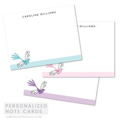 Elegant bird stationery note cards. Available in pink, purple and aqua blue. Custom name.